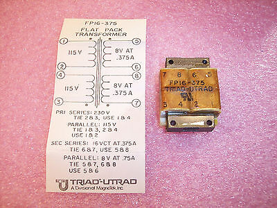 Qty (2) Fp16-375 Magnetek Triad Flat Pack Power Transformer 115/230V New In Box