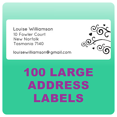 100 Personalised Return Address Labels Large Sticky Stickers Business Postage