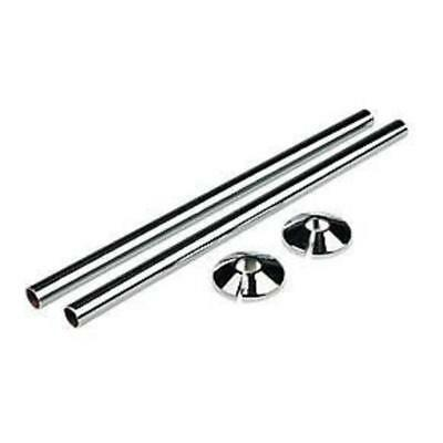 2 x CHROME RADSNAPS RADIATOR PIPE COVERS + COLLARS - FREE UK DELIVERY