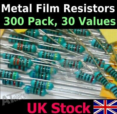 Resistors Metal Film 300 Pack, 10 each 30 values 1/4w 1% Kit/Assortment/Mix -UK