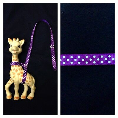 Handmade Sophie the Giraffe Leash Harness Purple Polka Dots Toy Strap Holder