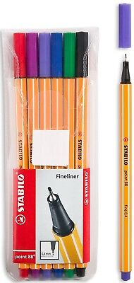 STABILO POINT88 FINELINER PEN 04mm OF SIX ASSORTED COLORS IN A BLISTER PACKAGE