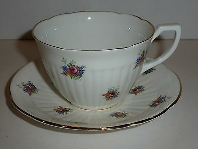 Heritage England Bone China Cup and Saucer, Small Florals and Gold Tone-FLAWS
