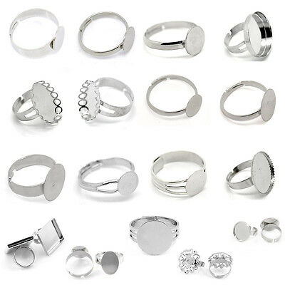 Adjustable New Cabochon Setting Rings Sliver Tone M1427
