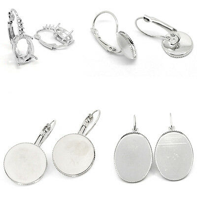 Earring New Clips Findings Cabochon Setting Silver Tone M0977