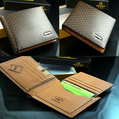 Stylish Men's Leather Wallet Pocket Card Clutch Bifold Purse New + Gift package