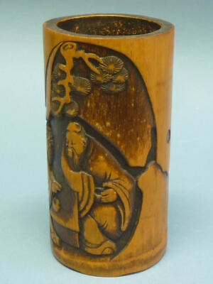Early 19th century carved bamboo brush pot