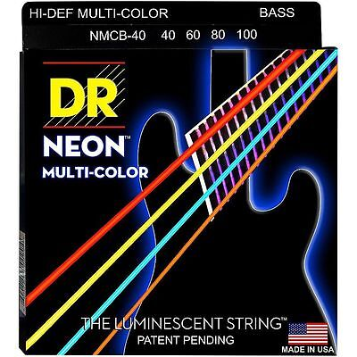 DR NMCB-40 NEON HiDef  MULTI-COLOR COATED BASS STRINGS, LIGHT GAUGE 4's - 40-100