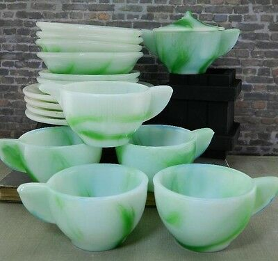 Vintage Akro Agate- Art Deco Children's Green Slag Glass Tea Set