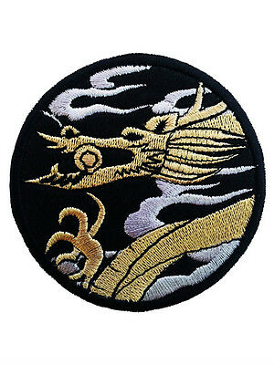 """3X5/"""" Red Dragon EMBROIDER IRON ON SEW ON PATCH applique badge zodiac cloud gold"""