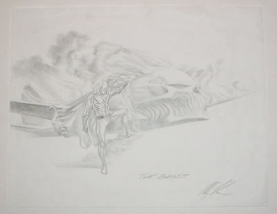 Alex Ross - THE GHOST - ORIGINAL DETAILED PENCILS PRELIMARY SKETCH 11 X 14