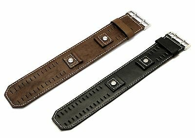 18mm 20mm 22mm 24mm FSKO Cuff Leather Watch Band Strap Black Brown White