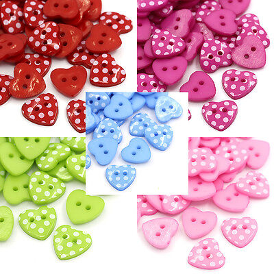 100PCs Resin Buttons Sewing Scrapbooking Love Heart Cardmaking Craft 15mmx14mm