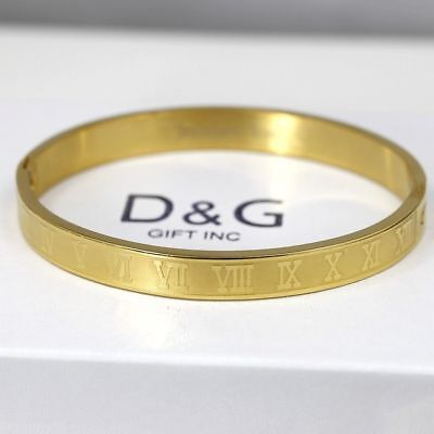 "DG Men's 7"" Stainless Steel Gold,Roman-Numeral,Bangle Bracelet Unisex*BOX"