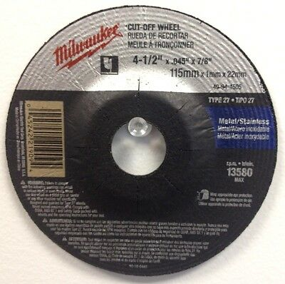 Milwaukee 49-94-4505 25pc Type 27, Cut-Off Wheel, 4-1/2in x .045 x 7/8 in