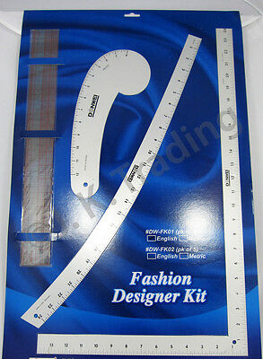 Fashion Designer Kit Pack of 4 Sewing Rulers. Imperial/Inch Print.