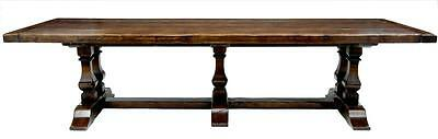 MASSIVE ENGLISH 12FT OAK WILLIAM AND MARY INFLUENCED REFECTORY TABLE SEATS 12-14