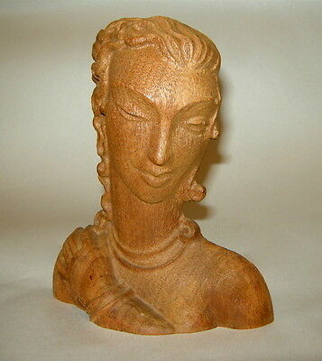 "Deco Hand Carved Wood Sultry Girl or Woman 6 1/2"" Head Sculpture Plaque French"