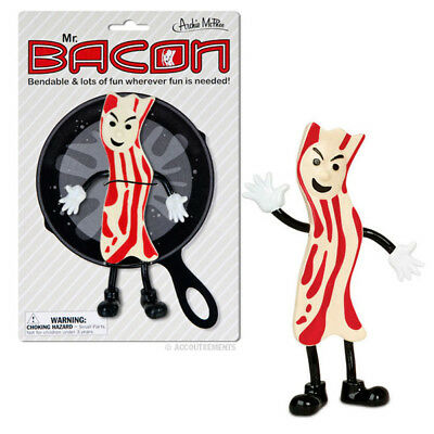 Mr Bacon Bendable Action Figure Unique Gift Novelty Toy Kitsch Weird Gag Funny