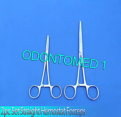 """New 2pc Set 10"""" + 14"""" Straight Hemostat Forceps Locking Clamps Stainless Steel"""