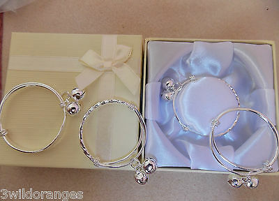 Baby Bracelet Silver with Bells Gift Box or Gift Bag