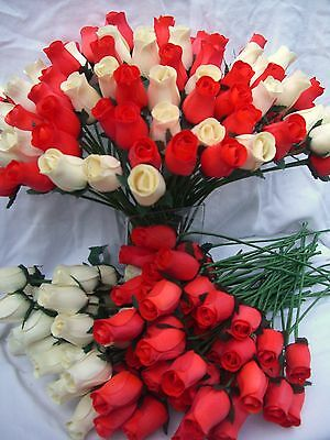 Wholesale Clearance Sale Cream & Red Wooden Roses Job Lot Gift Wedding FREE P+P