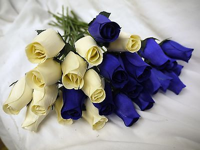 Wholesale Stock Clearance Sale Cream & Navy Wooden Roses Job Lot Gift Weddings