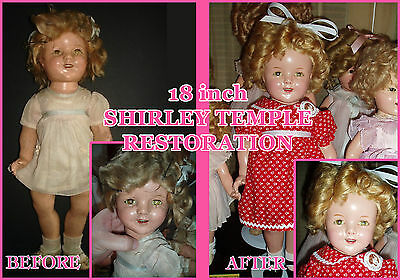 """Composition Shirley Temple Doll Cleaning~Repair~Restoration for 13"""" - 18"""" Doll"""