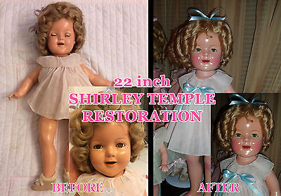 """Composition Shirley Temple Doll Cleaning~Repair~Restoration for 20"""" and 22"""" Doll"""