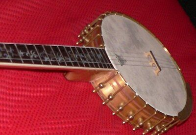 Long Neck Banjo with Tubaphone four and  five string Vega Style Brass Brackets,