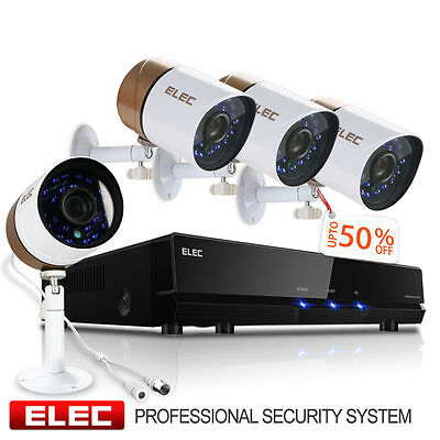 ELEC® 4 CH Channel Outdoor DVR HDMI 960H CCTV Home Security Camera System 500GB