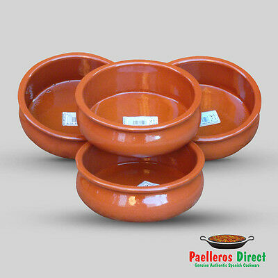 Set of 4 x 18cm Spanish Terracotta Tapas Dishes / Bowls / Cazuelas Abombada