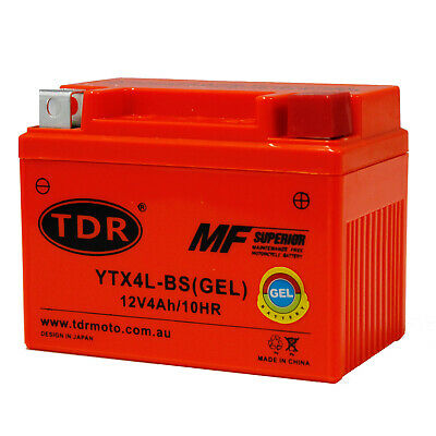 12v 4Ah Motorbike GEL Battery ATV Quad Dirt/Pit Bike 50/70/110/125 cc YTX4L-BS
