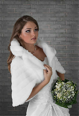 Wedding Faux Fur Bridal Shawl Wrap Stole Shrug Bolero Cape  S M L Xl