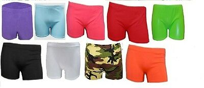 Ladies  women's Girls kids Neon Stretch Hot Pants Shorts Dance Gym Tutu school