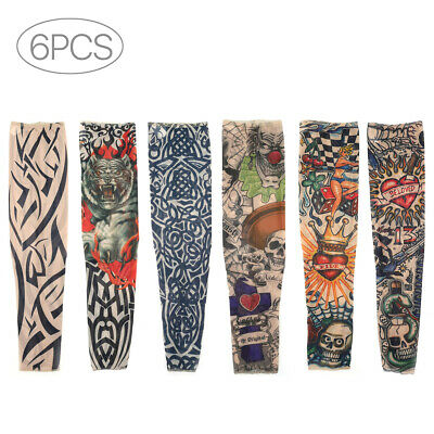 Nylon Stretch Costume Fake Tattoo Sleeve Arm Stocking Fancy Dress Pack of 6