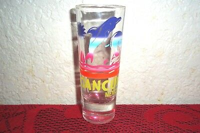 "Cancun Mexico Tall Dolphins Shot Glass Bar Collection 2oz 4""inch high"
