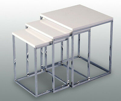 NEW NEW Charisma Nest of Tables in White Gloss/Chrome 24HR DELIVERY