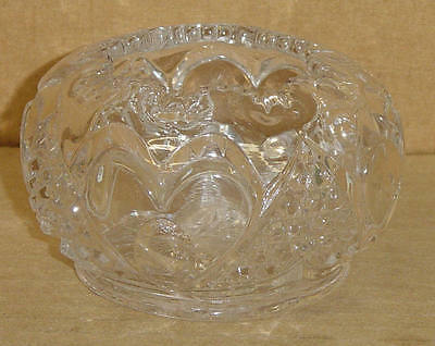 EAPG CRYSTAL HEART WITH THUMBPRINT ROSE BOWL TARENTUM GLASS 1898