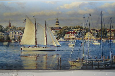 SAIL BOATS SAILING SCHOONER Wallpaper Border 9""