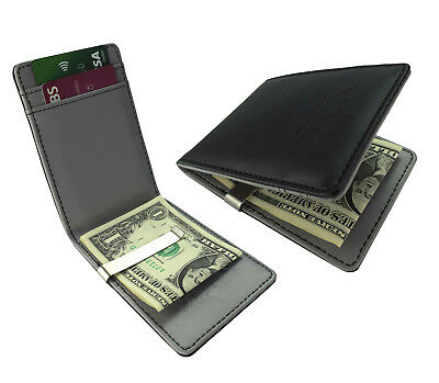 Grey Money Clip Silver Faux Leather Black Wallet Card Holder