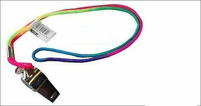 Metal Referee Sport Whistle with Multicolour Neck Strap School PE Dog Training