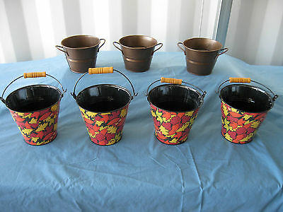 """7 pcs. New 5.25""""/6.25"""" Metal Fall Buckets and Pails NICE!  FP-3 FREE SHIPPING!"""