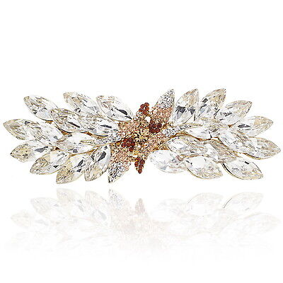 """Clear Crystal Brown Rhinestone Gold Tone Barrette Hair Clip Party Gift 4"""""""