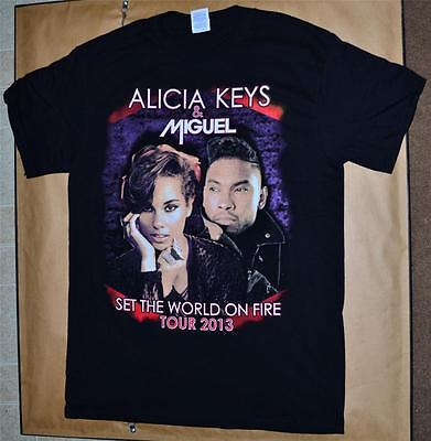 NEW Medium Alicia Keys Miguel Concert Shirt 2013 Set The World On Fire Tour