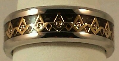 Freemason Circle of Light Ring With Gold Square and Compass (size 10)