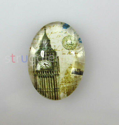 Free ship 30pcs Big ben tower Pattern Oval Glass Dome Seals Cabochon 18x13mm