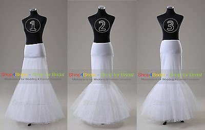 White Hoopless/1 Hoop/2 Hoop Cocktail Mermaid Fishtail Crinoline Petticoat Slips