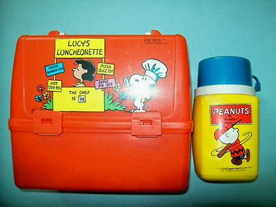 Vintage 1960s Peanuts Orange Plastic Lunchbox With Original Thermos