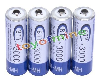 4 AA 3000mAh 1.2 V Ni-MH rechargeable battery BTY cell for MP3 RC Toys Camera